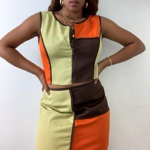 Multi Color Blocking Two Piece Set